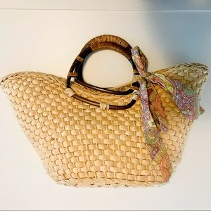 ANTHROPOLOGIE | straw Bag | fabric lined